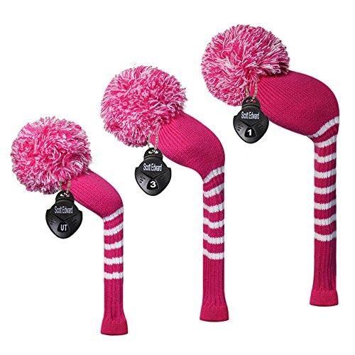 Meili Gottheit Bright Farbe Argyles/Set 3 Streifen Style Knit Golf Schlägerhaube für Driver Holz, Fairway Holz und Hybrid, Langer Hals, Big Pom Pom, Deep Pink Stripes