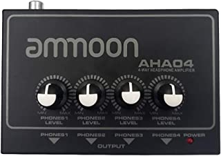 ammoon ヘッドホンアンプ ポータブルヘッドフォンアンプ 4ウェイ、1/4インチ&1/8インチ入力、出力RCAステレオ入力 ボリュームコントロール AHA04
