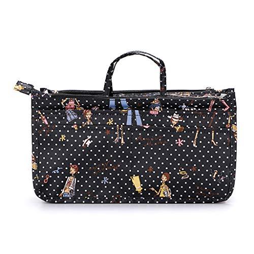 IGNPION bedruckter Handtaschen-Einsatz, Organizer mit 13 Taschen, erweiterbarer Beutel mit Reißverschluss, Einkaufstaschen-Organizer, Winckeltaschen-Einsatz mit Griff Mehrfarbig mädchen Einheitsgröße