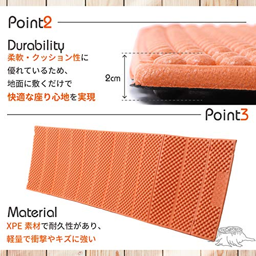 [JOYme]キャンプマットアウトドアマット(オレンジ/縦187cm×横56cm×厚さ2cm/収納袋付き)アウトドア/防水/軽量/厚手/折りたたみマット/防災