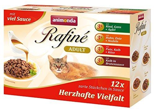 animonda Rafiné Adult Katzenfutter, Nassfutter für ausgewachsene Katzen, Frischebeutel, Delikate Vielfalt in Sauce, 4er Pack (4 x 12 x 100g)