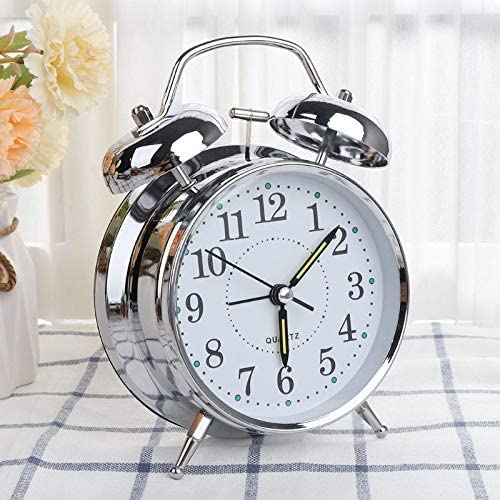 DK HOME APPLIANCES Twin Bell Alarm Clock For Heavy Sleepers With Night Led Display Silver 2 3 Inch X 4 7 Inch X 5 Inch Silver Color