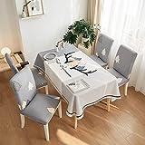 5pcs / set Mantel y fundas para sillas decoraciones de Navidad, rectángulo y fácil de limpiar Fácil Mantel Con floral retro Imprimir C-140 * 180cm