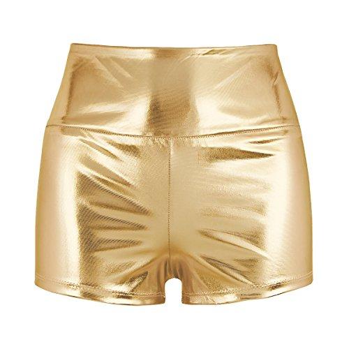 Freebily Damen Shorts Metallic Hotpants Eng Anliegend Glänzend Sport Shorts Tanzhose Minishorts Ballett Gym Fitness Shorts Panty Gold S