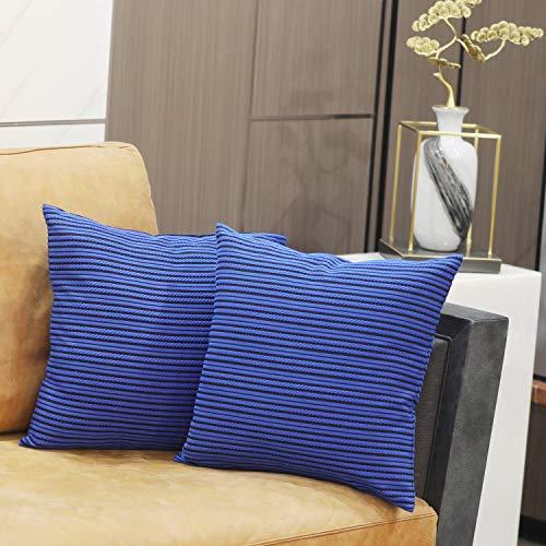 ChuloPony Dekorativer Überwurf-Kissenbezug, blau, 3D-Streifen, modernes Bauernhaus-Kissenbezüge mit Jacquard-Muster für Couch/Wohnzimmer/Bett/Stuhl/Büro/Auto, 5,5 x 45,7 cm