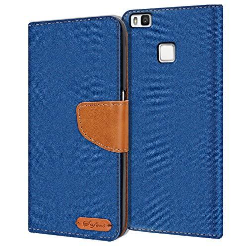 Verco P9 Lite Hülle, Schutzhülle für Huawei P9 Lite Tasche Denim Textil Book Hülle Flip Hülle - Klapphülle Blau