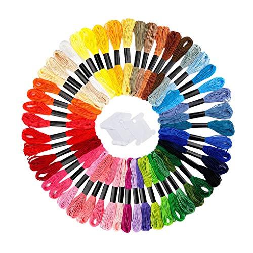 Jinghengrong Poliéster 6 madejas Bordados de Hilos de Costura de Bricolaje Floss Cuerdas de Punto de Cruz Accesorios de Costura, Color al Azar