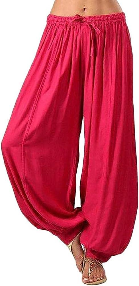 PHSHY Plus Size Harem Trousers Beach Boho Pants Womens Hippie Casual Loose Drawstring Elastic Waist Wide Leg Pants