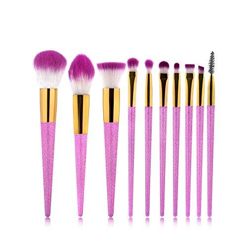Uiophjkl Fondation Pinceau Gommage Brosse Maquillage Set Outils Trousse de Toilette Trousse de Toilette Fibre Cosmétique Brosse Yeux 10 en 1 pour Les Filles