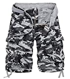 KEYBUR Mens Camo Cargo Shorts Camouflage Relaxed Fit Short (32, Grey Camo)