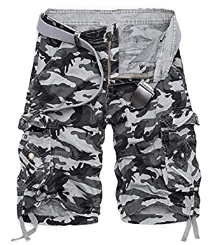KEYBUR Mens Camo Cargo Shorts Camouflage Relaxed Fit Short  32 Grey Camo