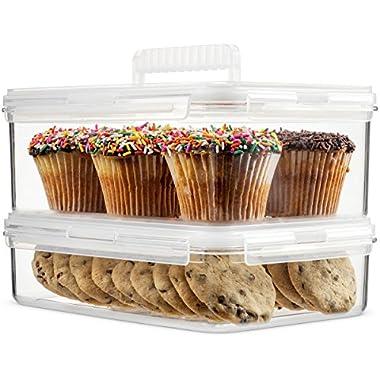 Komax Hikips Food Storage Containers - 2 Piece Cookie, Muffin, Cupcake Set - Premium Tritan Material, BPA Free - Airtight, Leakproof, Snap Locking Lids - Microwave, Freezer & Dishwasher Safe