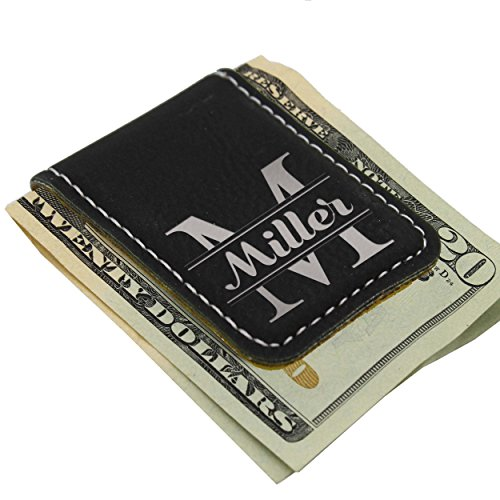Personalized Magnetic Money Clip - Custom Engraved Gift for Men, Him, Dad - Monogrammed for Free (Black with Silver)