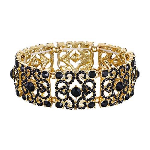 EVER FAITH Pulsera Brazalete Elástico Mujer Cristal Austríaco Boda Retro Flor Negro Tono Dorado