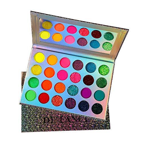 24-Farben-Lidschatten-Palette, DE'LANCI Aurora Glow-Lidschatten-Palette, Neonlichter leuchten im Dunkeln, um Ihre Schönheit zu beleuchten