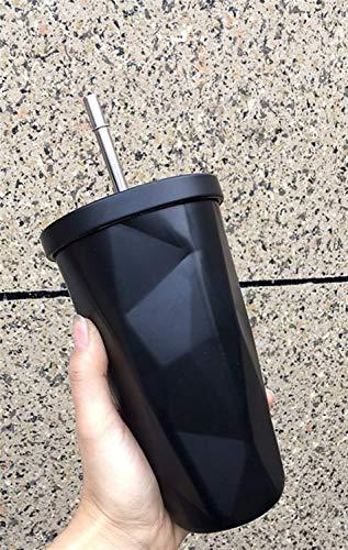 Tasse Petit à petit changement de couleur café tasse en acier inoxydable Bouteille Double-Deck avec l'eau de paille Rhombique Tasse (Couleur: Violet) yqaae (Color : Black)