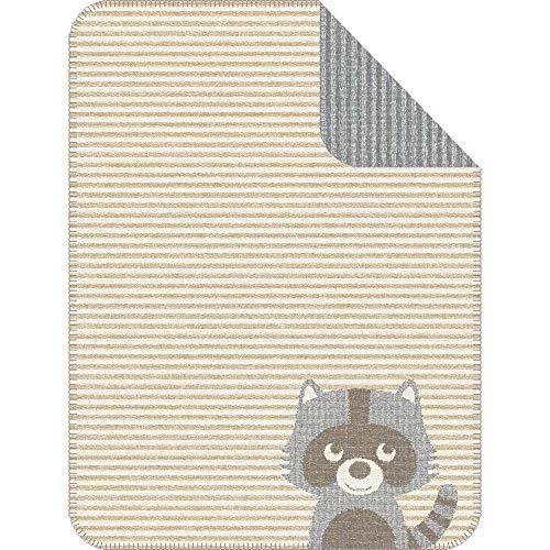 s.Oliver Babydecke Junior 1114 / Kinderdecke Natur/grau mit süßem Waschbärmotiv/Schmusedecke 075x100 cm/hochwertige Baumwollmischung/kuschelig weich und angenehm wärmend