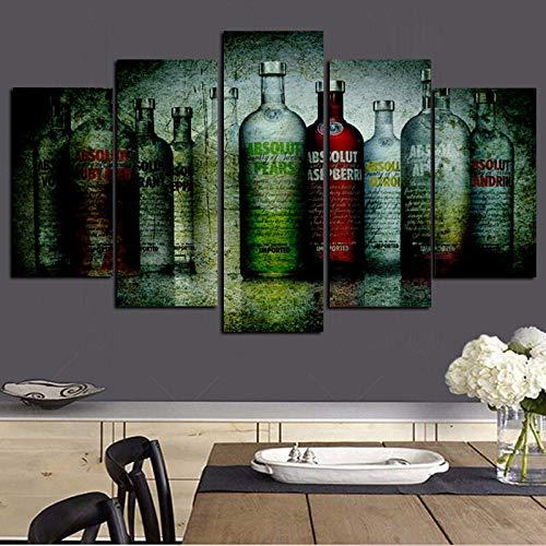 5 Panel Print Absolut Vodka Flasche auf Leinwand Modulare Wandmalereien Abstrakte Kunst Wandbild Poster für Wohnzimmer-40x60 40x80 40x100cm Kein Rahmen