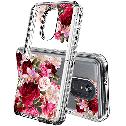 ACKETBOX LG Stylo 4 Phone Case, Heavy Duty Hybrid Impact Defender Shockproof Clear Flofal Design Three Layer Full-Body Protective PC Back Case+Bumper and TPU Cover for LG Stylo 4(Flowers-03)