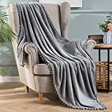 MIULEE Fleece Throw Blanket with Pompom Tassel Soft Flannel Cozy Light Grey Bed Blanket Fuzzy Plush Warm Farmhouse Boho Decor for Couch Sofa Bed Throw Size 50'x60'