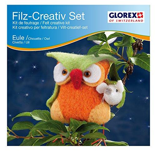 Glorex GmbH Kit créatif à feutrer, Chouette/orange, 11 x 13