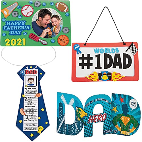 4E's Novelty Father Day Crafts for Kids to Make (4 Pack) DIY Gift from Kids to Give for Dad Father's Day - Card Picture Frame Tie Home Activity for Toddlers Kids Boys Girls Ages 3 4 5 6 7 8 9
