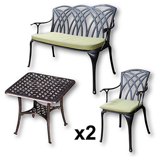 Lazy Susan - SANDRA Quadratischer Kaffeetisch mit 1 APRIL Gartenbank und 2 APRIL Stühlen - Gartenmöbel Set aus Metall, Antik Bronze (Grüne Kissen)