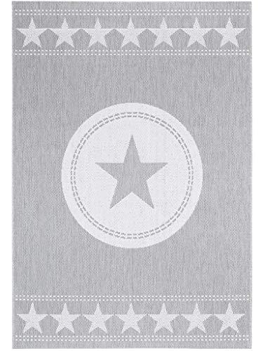 benuta In- & Outdoor Teppich Essenza Star Grau 160x230 cm   Pflegeleichter Teppich geeignet für Innen- und Außenbreich, Balkon und Terrasse