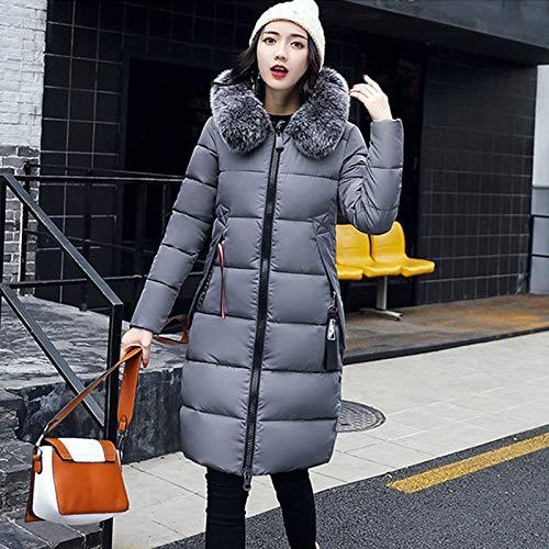KOUPNLTM Manteau d'hiver À Capuche pour Femmes Long Et Chauds Slim Down Vestes Vogue Manches Longues Outwear XXXL Gris