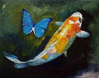Imagekind Wall Art Print Entitled Kujaku Koi and Butterfly by Michael Creese | 20 x 16