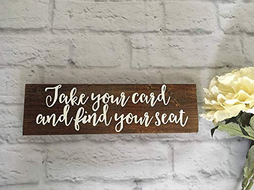 Brooer2ick - Cartel de Boda con Texto en inglés Take Your Name Table Find Your Seat Place Cards, Cartel de Boda para Novia, decoración rústica, para Primavera, Verano, Madera Pintada a Mano con Citas