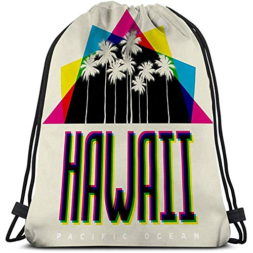 BOUIA Classic Drawstring Bag Sport Storage Bag thema hawaii strand typografie poster print banner ansichtkaart
