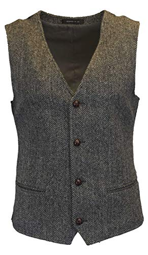 Walker and Hawkes - Gilet voor heren - klassiek/Schots/heringbone motief - Harris tweed