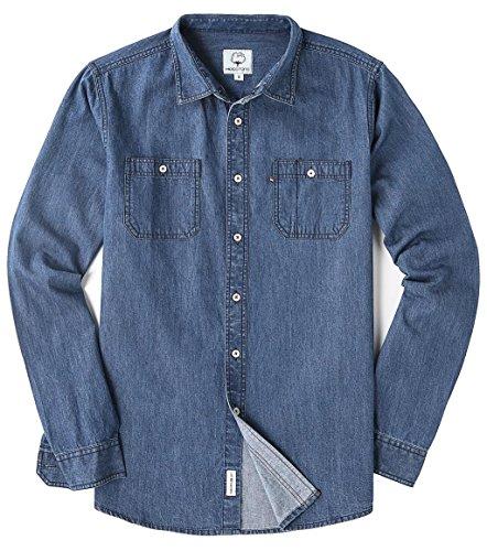 MOCOTONO Men's Long Sleeve Denim Solid Double-Pocket Shirt Blue Large
