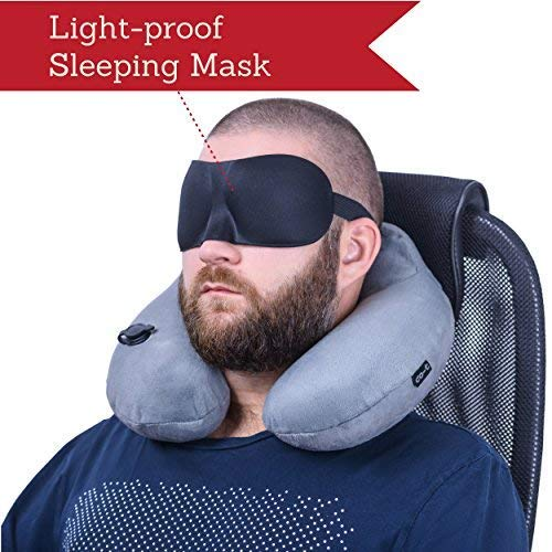 CO-T Inflatable Neck Pillow - Inflatable Travel Pillow Set for Airplane - Neck Travel Pillows for Women - Airplane Pillow for Men with Packsack - Soft Velvet Flight Pillow