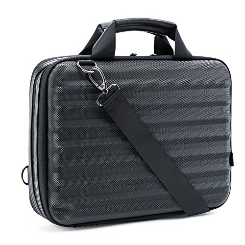 LAX 13-Inch Laptop and Tablet Case - Protective Outer Hard-Shell Shoulder Bag Sleeve - 10 Pockets for Tablet, Smartphone, Pens, Cards - Moisture & Water Resistant - Removable Strap - Leather Handles