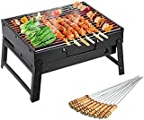 PIKHA Package Contents: 1-Piece Barbecue Grill Material: Carbon Steel, Color: Black PERFECT GIFT: Uten folding portable lightweight BBQ grill is a perfect BBQ tool for beach, picnics, parties, trailers, a camping trip or anywhere you want. GO ANYWHER...