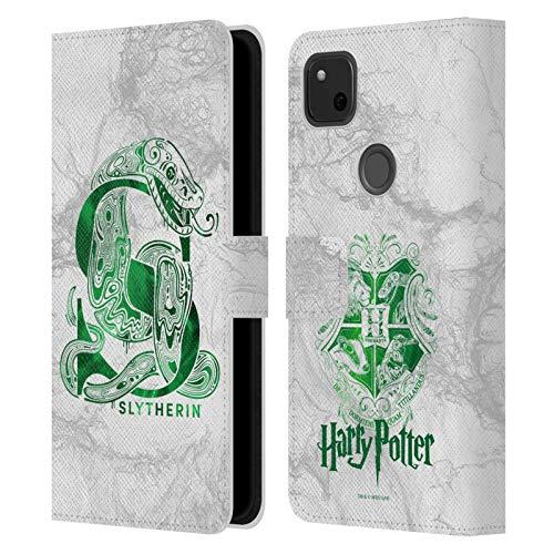 Head Hülle Designs Offizielle Harry Potter Slytherin Aguamenti Deathly Hallows IX Leder Brieftaschen Handyhülle Hülle Huelle kompatibel mit Google Pixel 4a