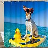 NISENASU Rideau de Douche,Chien Surfant sur Une Planche de Surf Portant des Lunettes de Soleil avec Un Canard en Caoutchouc en Plastique Jaune au Bord de l'océan,180 * 180 cm
