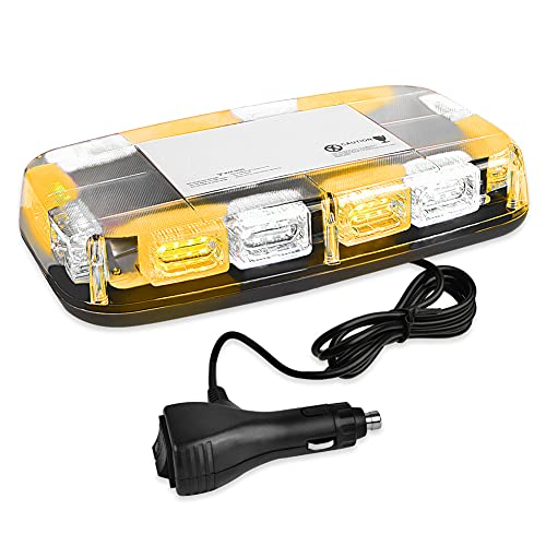 AT-HAIHAN 48 LEDs Mini Strobe Light Bar Amber White Clear Roof Top Flash Beacon Magnetic Mount for Trucks Snow Plows Construction Vehicles Security Cars Safety Warning