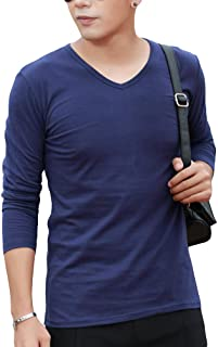Cloudstyle Long Sleeve Solid V Neck Cotton T-Shirts for Men