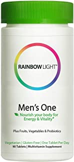 Rainbow Light Men's One Non-GMO Project Verified Multivitamin Plus Superfoods & Probiotics Tablets, 90 Count (Pack of 1)