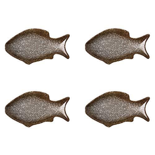 Cuencos Aperitivo Platos de salsa en forma de peces Estilo japonés Cerámica Vinagre de soja Placa de inmersión Sazoneamiento Platillo Condimento Plato Ketchup Documentos para el hogar 4 Pack Salsa Cue