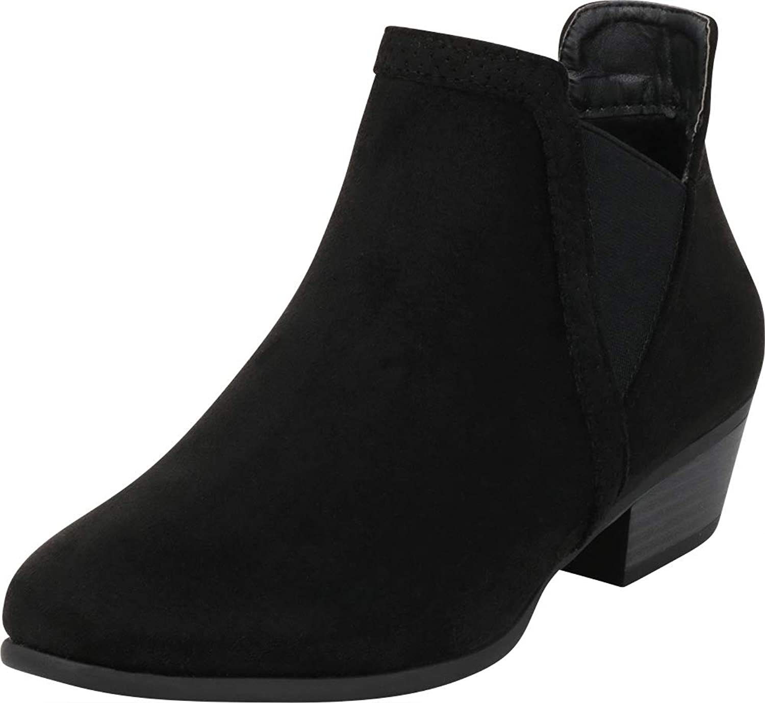 Cambridge Select Women's V Cutout Chelsea Stretch Chunky Stacked Low Heel Ankle Bootie