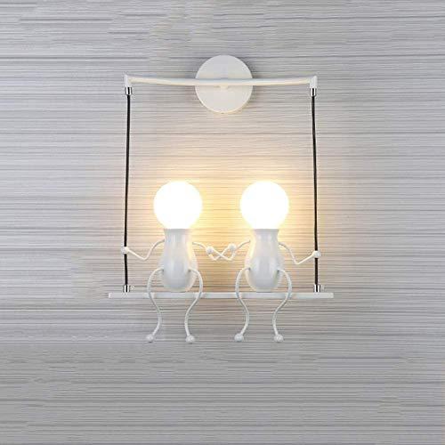 Hermosa Creativo Lámpara de Pared E27 Humanoide Moderno Apliques de Pared para Dormitorio Cocina Restaurante Robusto (Color : White)