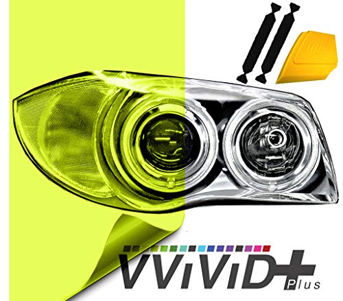VViViD Air-Tint Extra-Wide Headlight Taillight Vinyl Tint Wrap 16 Inch x 48 Inch Roll Including Yellow Squeegee & 2X Black Felt Edge Decals (Bright neon Yellow)