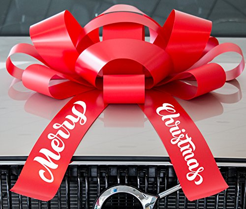CarBowz Big Merry Christmas Car Bow, Giant 30' Bow, Non Scratch Magnet, Weather Resistant Vinyl (Red)