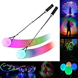 LED Poi Balls- 2020 Upgraded Spinning Poi Toy for Beginner Kids & Professional - Juggling Thrown Balls Multi Color Light Up Poi Balls- Spinning LED Light Up Toy