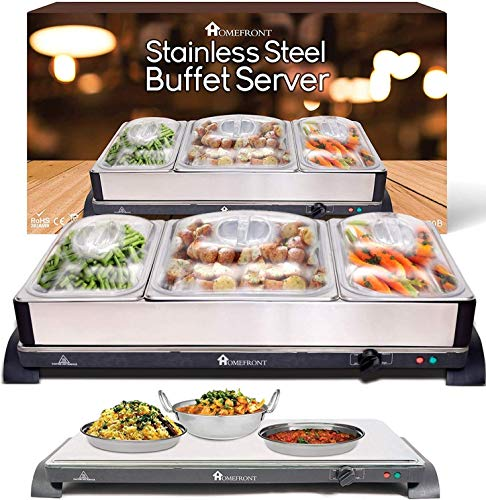 HOMEFRONT 2 in 1 X LARGE PRO-SERIES BUFFET/HOT TRAY FOOD SERVER (EXTRA LARGE CAPACITY 10.5 LITRES)