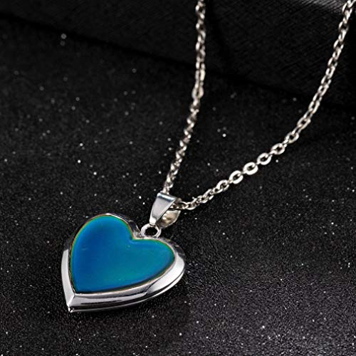 Preisvergleich Produktbild TTDAltd Halskette Romantischer Bilderrahmen Stimmung Liebe Herz Kristall Anhänger Kette Halskette Temperaturänderung Farbkette